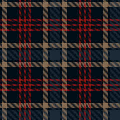 Seamless plaid pattern in stripes. Checkered fabric texture print. Vector