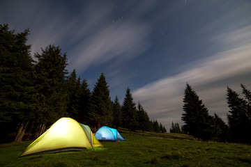 Two brightly lit tourist tents on green grassy forest clearing among tall pine trees on clear dark blue starry sky background. Tourism, night camping in summer mountains, beauty of nature concept.