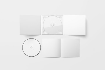 Realistic CD disc and carton packaging cover template mock up. Digipak case of cardboard CD drive. With white blank for branding design or text. isolated on soft gray background.3D rendering.