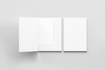 Realistic A4 size single pocket reinforced Folder with business card mock up isolated on soft gray background.Simple Folders with two leaf .3D rendering. Wall mural