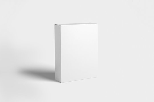 Realistic White Blank Cardboard Box isolated on white background. Mock-up to easy change colors. Ready for your design. 3D rendering.