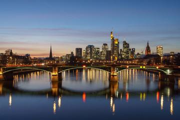 Stunning sunset view of financial skyline in Frankfurt