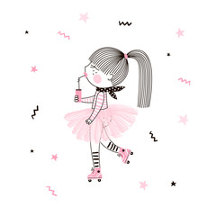 Cute little girl in pink ballerina skirt on roller skates with soda drink. Simple minimalistic vector doodle illustration for girls. Perfect for summer textile apparel t-shirt print, wall art, poster