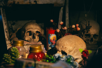 Naples (Italy) - The Fontanelle cemetery is a charnel house, an ossuary, located in a cave in the tuff hillside in the Materdei section of the city