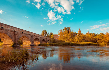 Roman bridge leading to the Salamanca cathedral, Spain. Orange and teal style