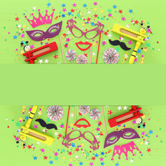 Purim celebration concept (jewish carnival holiday) over green wooden background. Top view, Flat lay