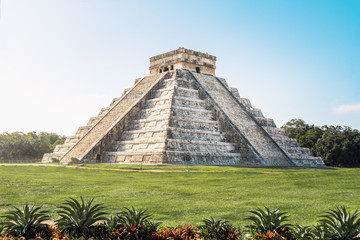 Mayan Temple pyramid  of Kukulkan, - Chichen Itza, Yucatan, Mexico