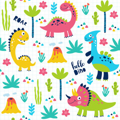 Seamless pattern with cute dinosaurs for children print. Vector