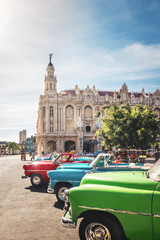 Cuban colorful vintage cars in front of the Gran Teatro - Havana, Cuba