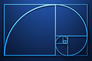 Fibonacci spiral diagram with numbers