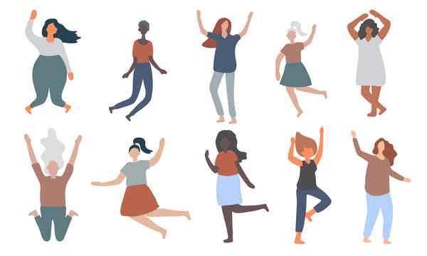 Multiracial women of different figure type and size dressed in comfort wear jump and have fun. Female cartoon characters. Body positive movement and beauty diversity.