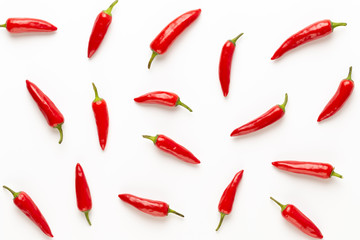 In de dag Hot chili peppers Chili or chilli cayenne pepper isolated on white background cutout.