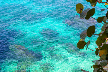 Amazing cliff side view of aqua/turquoise ocean water. Tropical paradise aerial scenery.