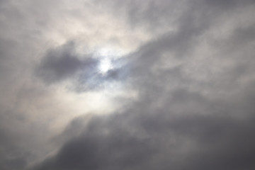 dark clouds in the sky and rays of light pierce through them