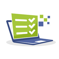 Vector illustration icon with the online survey business concept