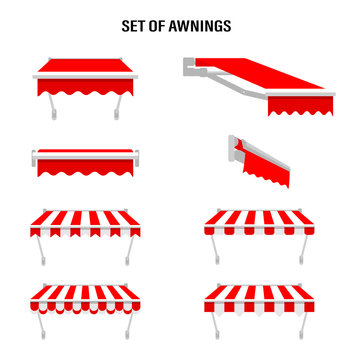 Shop awning tents for window. Outdoor market canopy, vintage store roof. Vector illustration.