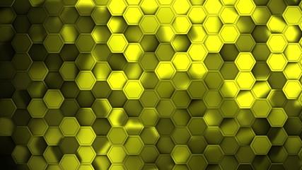 Wall Mural - Yellow hexagons modern backgroun illustration, 3d render