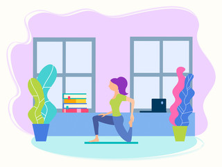 Girl in the yoga position at home between study and work yoga fitness concept