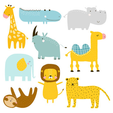 Set of wild cute animals. Kids graphic. Vector hand drawn illustration.