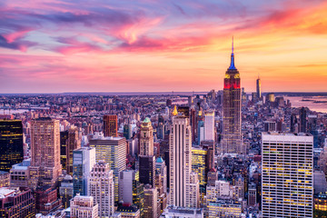Aluminium Prints New York New York City Midtown with Empire State Building at Amazing Sunset