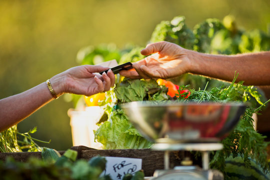 Mature woman uses a credit card to pay for fresh groceries at an outdoor market.