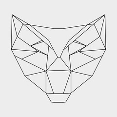 Geometric head wolf drawn in line or triangle style, suitable for modern tattoo polygonal templates, icons or logo elements.