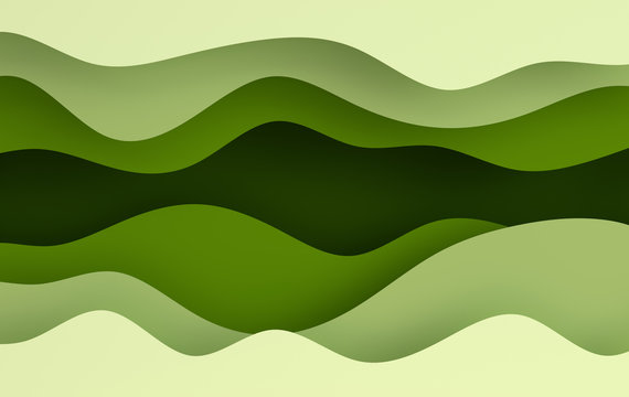 Green paper art cartoon abstract waves, holes. Paper carve background. Modern origami design template. 3d rendering illustration.