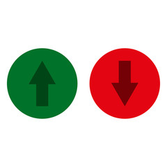 Arrows. Green and red glass button. UP and DOWN icon. Vector illustration
