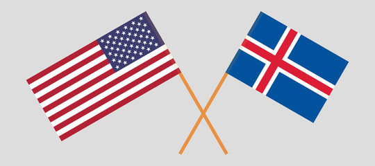 Iceland and USA. The Icelandic and United States of America flags. Official colors. Correct proportion. Vector