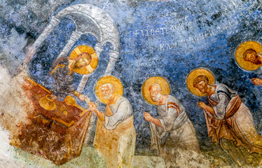 The fragment of colorful ancient fresco of the biblical scene on the dome of the church of St. Nicholas. Demre town, Turkey