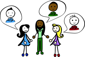 3 female stick persons are talking about boys by jziprian