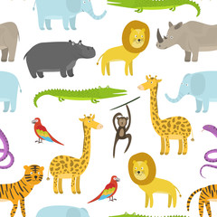 Cute childish seamless pattern with cartoon jungle animals on white background. Funny hand drawn texture with zebra, lion, giraffe for kids design, wallpaper, textile, wrapping paper