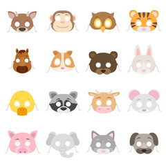 Animal masks set. Collection of mask props such as: deer, monkey, rabbit, tiger, pig, raccoon, elephant, dog,.bear, etc. Isolated vector illustration