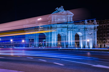 "The Puerta de Alcalá (""Alcalá Gate"",) at night, Madrid, Spain"