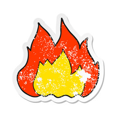 retro distressed sticker of a cartoon fire