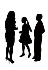 children talking silhouette vector