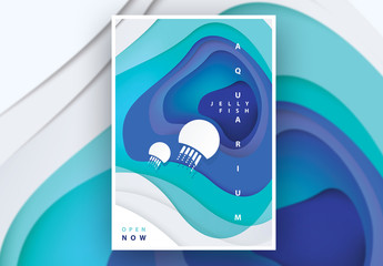 Poster Layout with Jellyfish Cutout Illustration