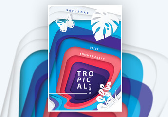 Poster Layout with Tropical Plants Cutout Illustration
