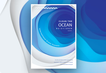 Poster Layout with Abstract Ocean Cutout Illustration