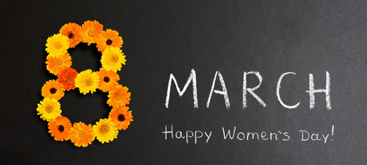 Creative Holiday poster 8 March Happy Women's Day
