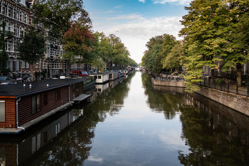 Houseboats on a canal in Amsterdam