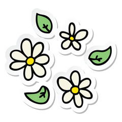 sticker of a quirky hand drawn cartoon flowers