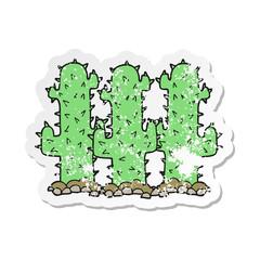 retro distressed sticker of a cartoon cactus