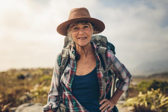 Portrait of a senior woman in hat