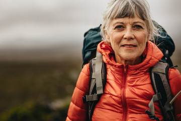 Fototapeta Close up of a female during trekking obraz