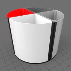 Round divided pencil holder