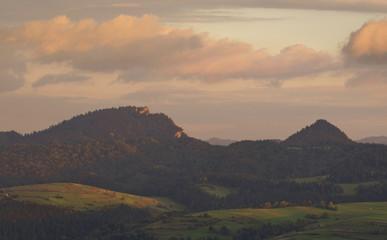 Sunset in mountains, Pieniny, Poland