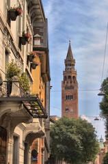 Cityscape of Cremona with Torrazzo, Italy