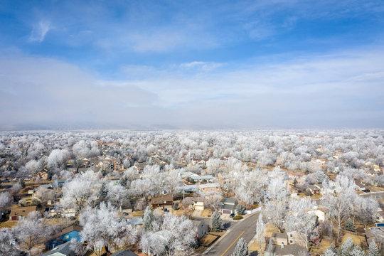hazy winter morning over city
