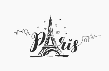 Vector hand drawn illustration of Paris famous building silhouette on white background.